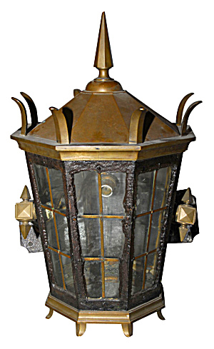 British Exterior Brass Wall Lantern