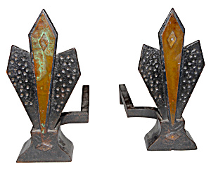 Deco Andirons Pair Of Fireplace Andirons