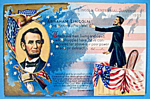 Abraham Lincoln Centennial Postcard-martyred President
