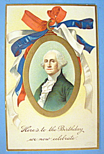 Washington Birthday Greeting Postcard (Embossed Design)