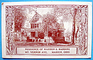 Residence Of Warren G. Harding Postcard