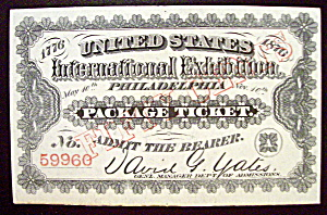 Philadelphia Package Ticket (Centennial Exposition)