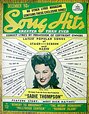Song Hits Magazine December 1944 Ginny Simms Cover