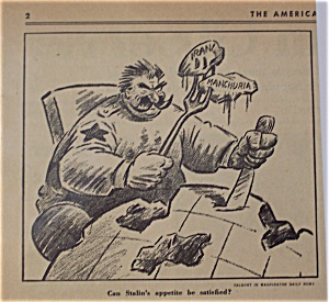Political Cartoon - March 25, 1946 Stalin's Aggression