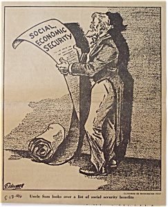Political Cartoon - 1946 Uncle Sam And Social Security