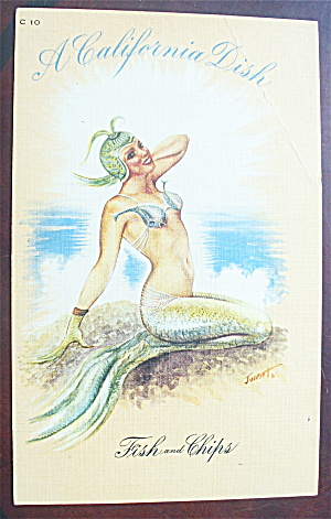 Mermaid Posing On A Beach Postcard
