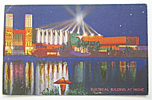 Electrical Building At Night Chicago 1933 Expo Postcard