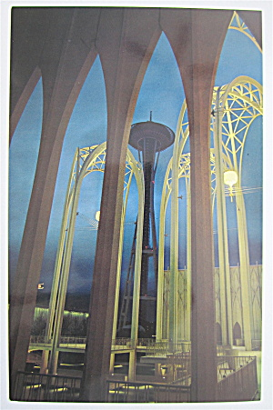 Space Needle Thru Arches, Seattle World's Fair Postcard