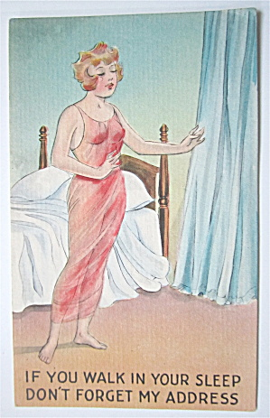 Woman Sleep Walking Postcard