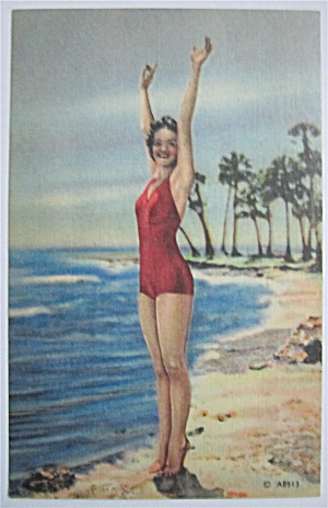 Woman Posing On Beach With Arms In The Air Postcard