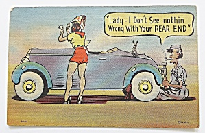 Man Fixing Woman's Car Postcard