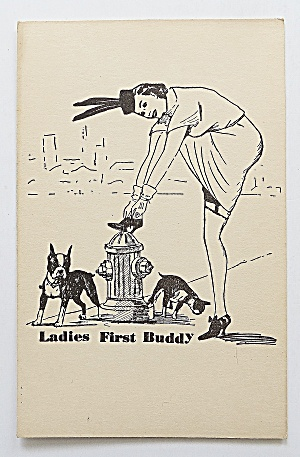 Woman Fixing Her Shoe On Fire Hydrant Postcard