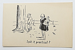 Little Boy Peeing By Tree While Girl Waits Postcard