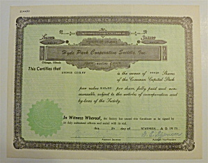 1975 Hyde Park Cooperative Society Stock Certificate