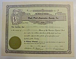 1962 Hyde Park Cooperative Society Stock Certificate