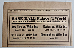 1911 Chicago White Sox Comiskey Park June Schedule