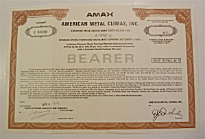 1974 American Metal Climax Inc. Stock Certificate