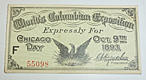 1893 Columbian Exposition Chicago Day Ticket