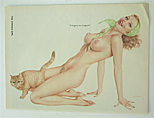 Alberto Vargas Pin Up Girl-october 1976-woman & Cat