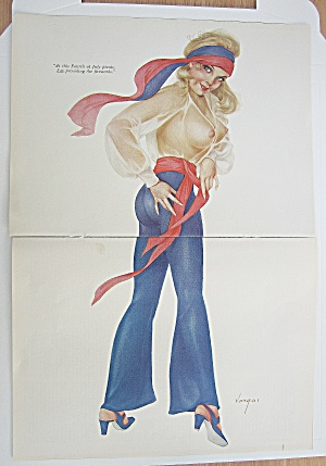 Alberto Vargas Pin Up Girl July 1970 Woman In Red &blue