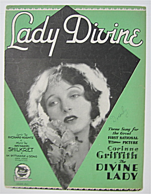 Sheet Music 1929 Lady Divine