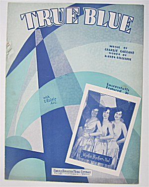 Sheet Music 1929 True Blue