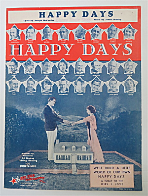 Sheet Music 1930 Happy Days