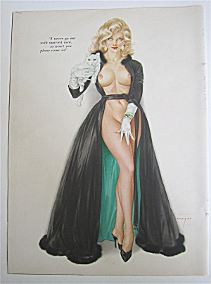 Alberto Vargas Pin Up Girl February 1964 Woman & Cat