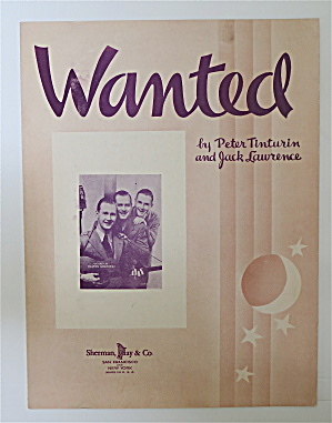 1937 Wanted Sheet Music Peter Tinturin & Jack Lawrence
