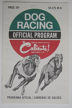 1969 Official Dog Racing Program & 3 Tickets