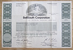1987 Bell South Corporation Stock Certificate