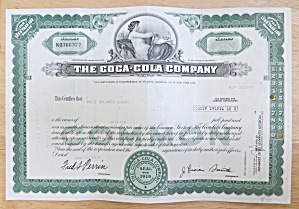 1977 The Coca Cola Company Stock Certificate