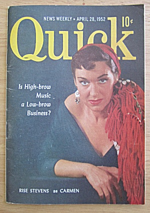 Quick Magazine April 28, 1952 Rise Stevens As Carmen