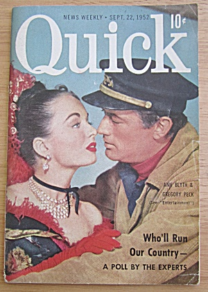 Quick Magazine September 22, 1952 Ann Blyth & Greg Peck