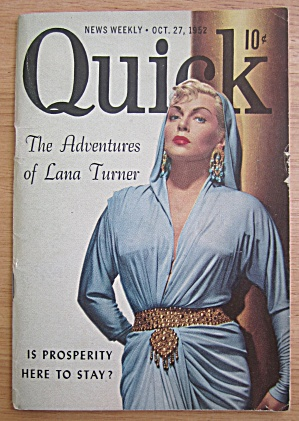 Quick Magazine October 27, 1952 Lana Turner
