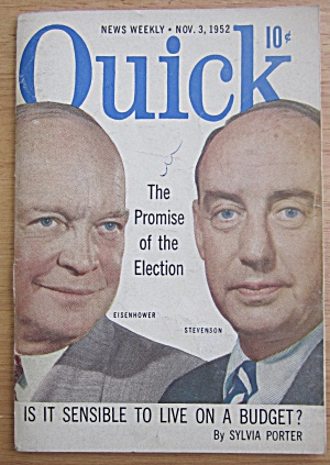 Quick Magazine November 3, 1952 Eisenhower/stevenson