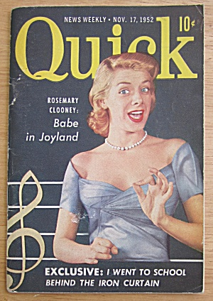 Quick Magazine November 17, 1952 Rosemary Clooney