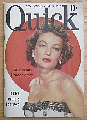 Quick Magazine January 5, 1953 Gene Tierney
