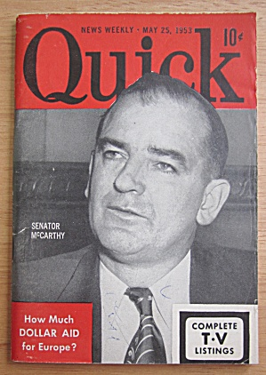 Quick Magazine May 25, 1953 Senator Mccarthy