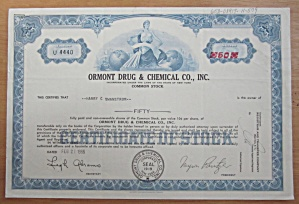 1966 Ormont Drug & Chemical Co Inc Stock Certificate