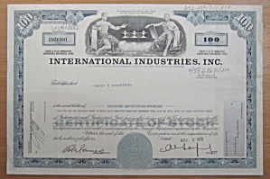 1970 International Industries Inc Stock Certificate
