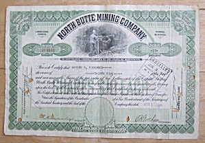 1926 North Butte Mining Company Stock Certificate