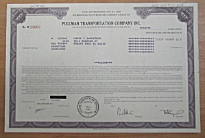 1984 Pullman Transportation Co Inc Stock Certificate