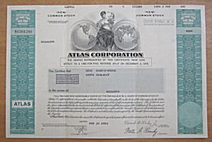 1983 Atlas Corporation Stock Certificate