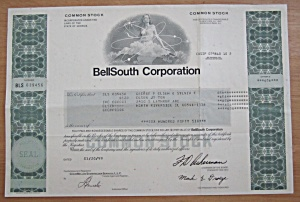 1999 Bell South Corporation Stock Certificate