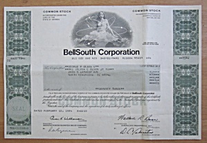 1984 Bell South Corporation Stock Certificate