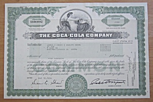 1996 The Coca Cola Company Stock Certificate