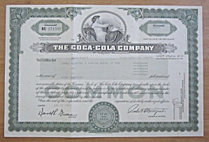 1987 The Coca Cola Company Stock Certificate