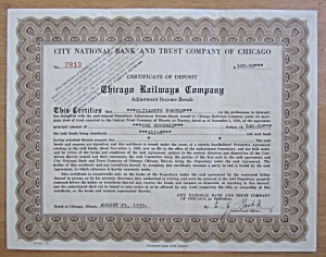1939 Chicago Railways Company Stock Certificate