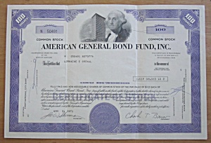 1971 American General Bond Fund Stock Certificate